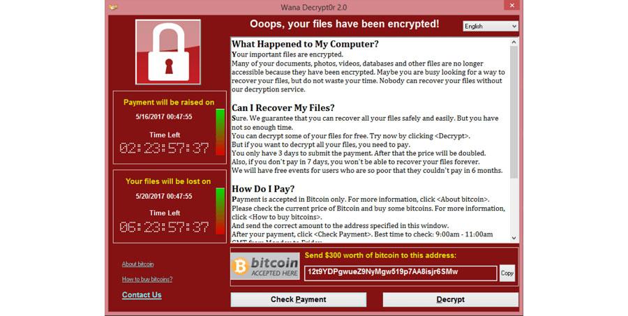 Един от най-емблематичните криптовируси - WannaCry - и екранът, чрез който създателите му искат откуп от жертвите си
